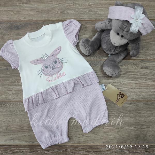 детская одежда недорого Детский трикотажный песочник для девочек -Rabbit- сиреневого цвета 3-6-9 мес