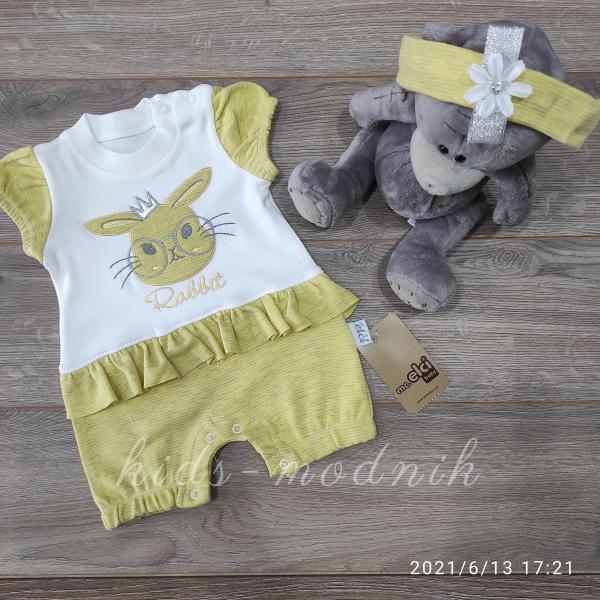детская одежда недорого Детский трикотажный песочник для девочек -Rabbit- желтого цвета 3-6-9 мес