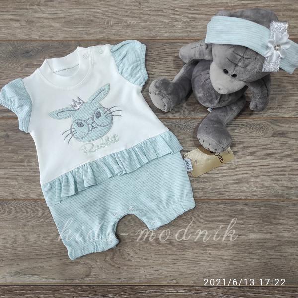 детская одежда недорого Детский трикотажный песочник для девочек -Rabbit- бирюзового цвета 3-6-9 мес