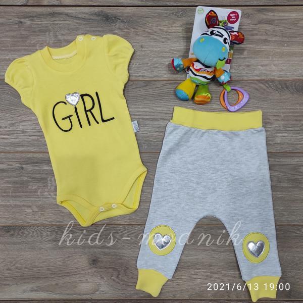 детская одежда недорого Детский летний комплект для девочек с бодиком -Girl- желтого цвета 3-6-9 мес