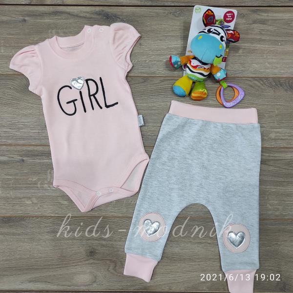 детская одежда недорого Детский летний комплект для девочек с бодиком -Girl- персикового цвета 3-6-9 мес