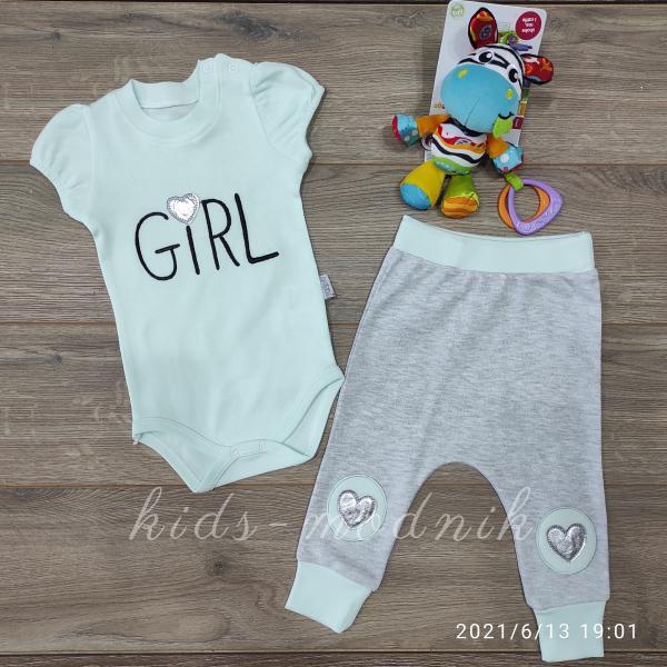 детская одежда недорого Детский летний комплект для девочек с бодиком -Girl- бирюзового цвета 3-6-9 мес