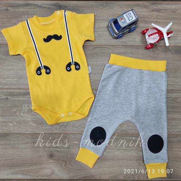 детская одежда недорого Детский летний комплект для мальчиков с бодиком -Mustache- желтого цвета 3-6-9 мес