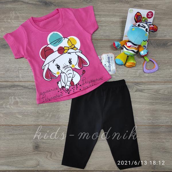 детская одежда недорого Детский летний костюмчик для девочек -Lidy Elephant- малинового цвета 9-12-18-24 мес