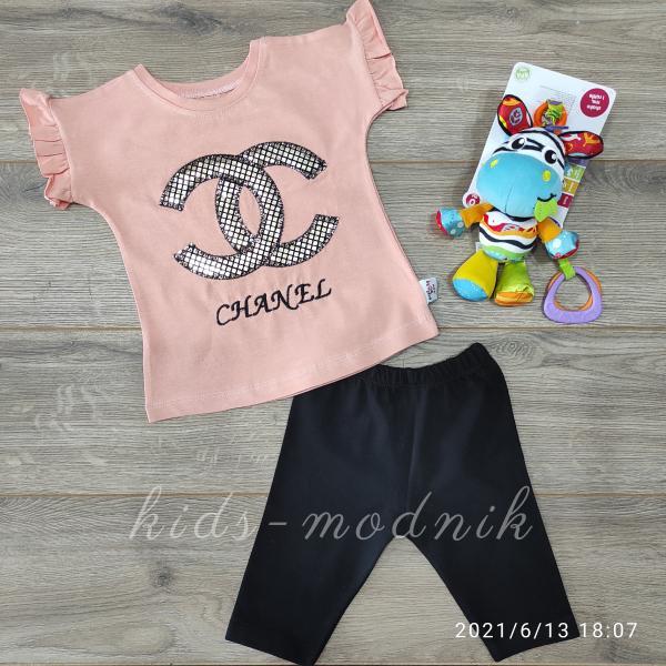 детская одежда недорого Детский летний костюмчик для девочек -Chanel- персикового цвета цвета 9-12-18-24 мес
