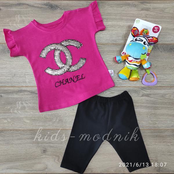 детская одежда недорого Детский летний костюмчик для девочек -Chanel- малинового цвета цвета 9-12-18-24 мес