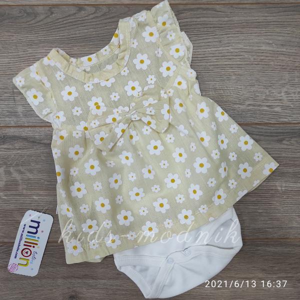 детская одежда недорого Детское летнее боди-платье для девочек - Ромашка- желтого цвета 1-3-6-9 мес