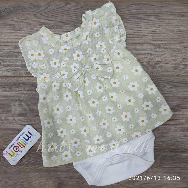 детская одежда недорого Детское летнее боди-платье для девочек - Ромашка- лаймового цвета 1-3-6-9 мес