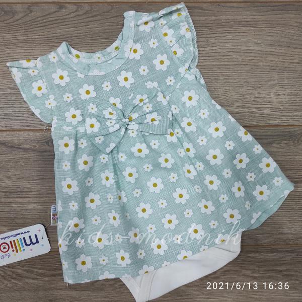 детская одежда недорого Детское летнее боди-платье для девочек - Ромашка- бирюзового цвета 1-3-6-9 мес