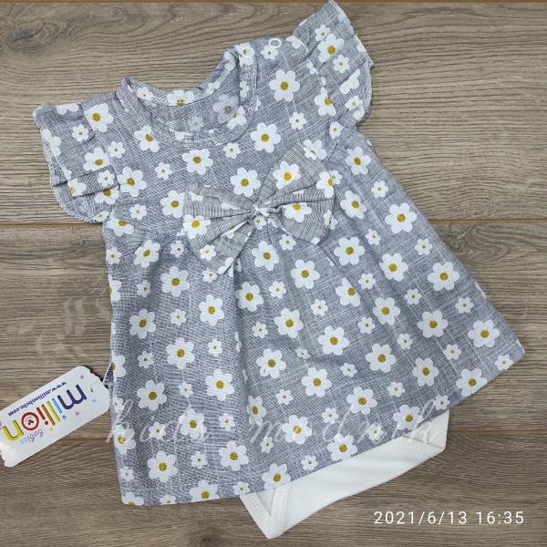 детская одежда недорого Детское летнее боди-платье для девочек - Ромашка- светло-серого цвета 1-3-6-9 мес