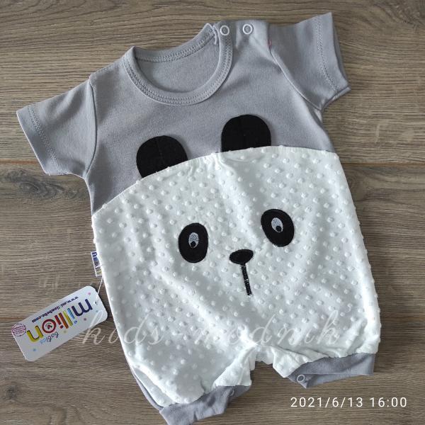 детская одежда недорого Детский трикотажный песочник для малышей -Little Bear- серого цвета 3-6-9 мес