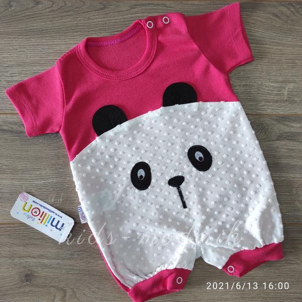 детская одежда недорого Детский трикотажный песочник для малышей -Little Bear- кораллового цвета 3-6-9 мес