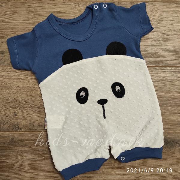 детская одежда недорого Детский трикотажный песочник для малышей -Little Bear- темно-синего цвета 3-6-9 мес
