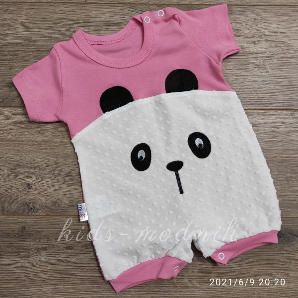 детская одежда недорого Детский трикотажный песочник для малышей -Little Bear- розового цвета 3-6-9 мес