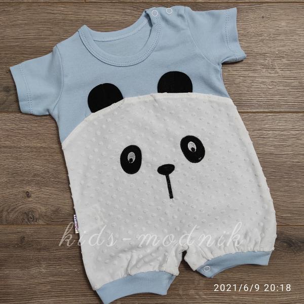 детская одежда недорого Детский трикотажный песочник для малышей -Little Bear- голубого цвета 3-6-9 мес