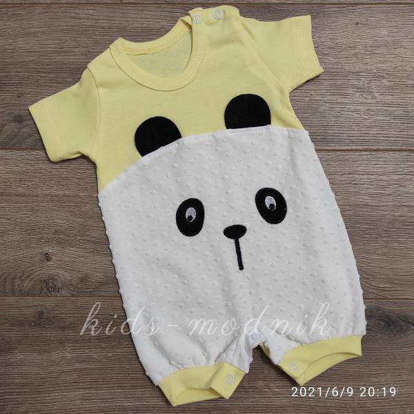 детская одежда недорого Детский трикотажный песочник для малышей -Little Bear- желтого цвета 3-6-9 мес