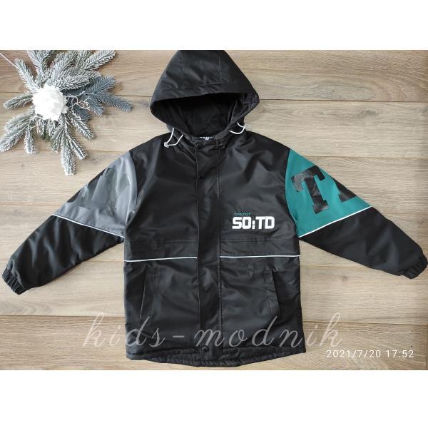детская одежда недорого Куртка демисезонная подростковая для мальчиков -Tongyi- черная с бирюзовым 11-12-13-14 лет